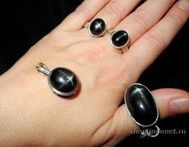 индийская черная звезда, кольцо и кулон